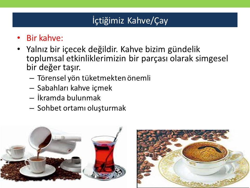 İçtiğimiz Kahve/Çay Bir kahve: