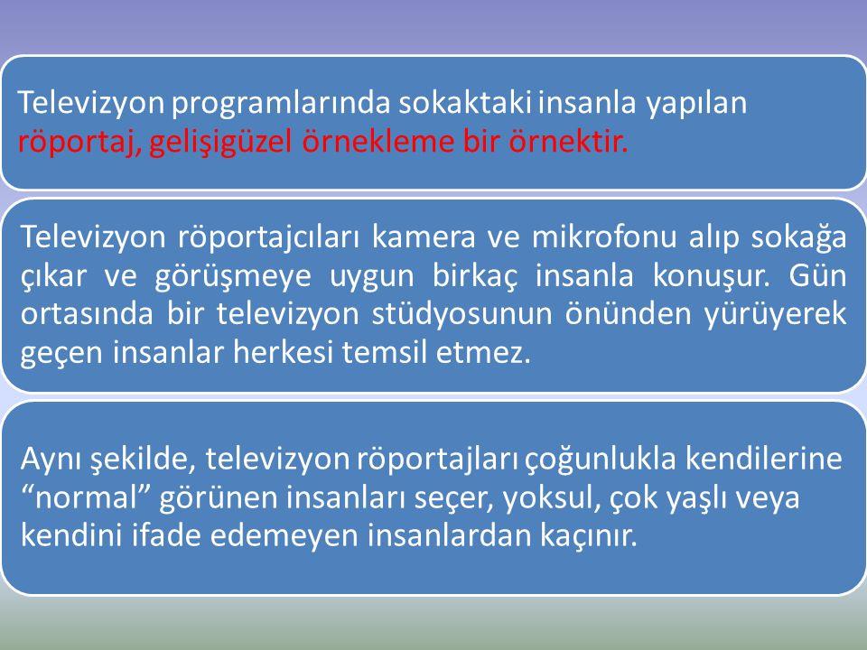Televizyon programlarında sokaktaki insanla yapılan röportaj, gelişigüzel örnekleme bir örnektir.