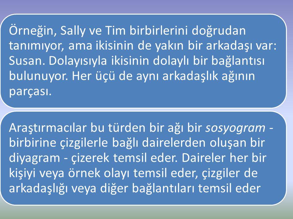 Örneğin, Sally ve Tim birbirlerini doğrudan tanımıyor, ama ikisinin de yakın bir arkadaşı var: Susan. Dolayısıyla ikisinin dolaylı bir bağlantısı bulunuyor. Her üçü de aynı arkadaşlık ağının parçası.