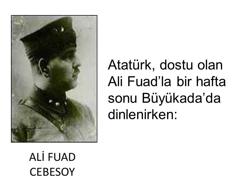 Atatürk, dostu olan Ali Fuad'la bir hafta sonu Büyükada'da dinlenirken: