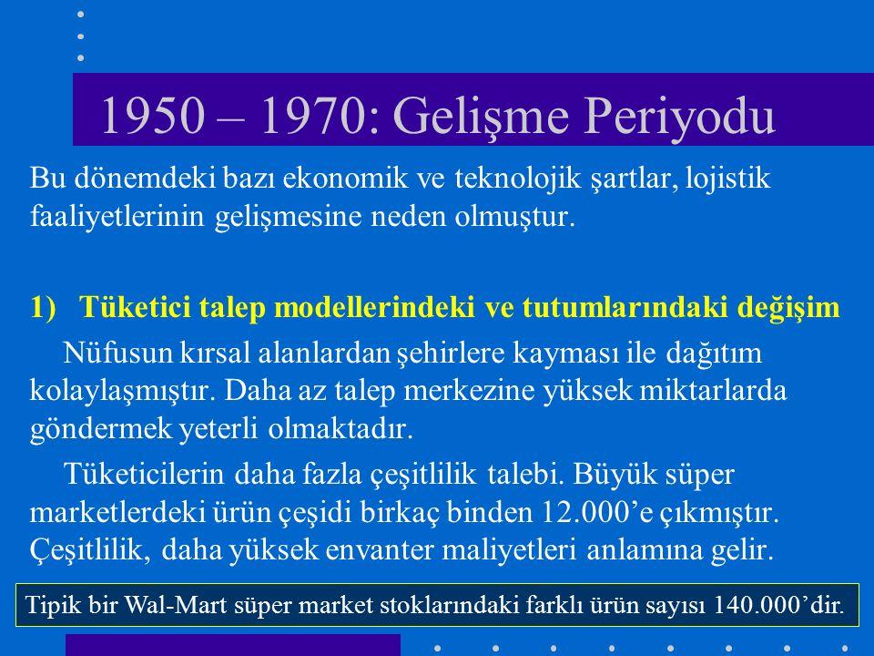 1950 – 1970: Gelişme Periyodu Bu dönemdeki bazı ekonomik ve teknolojik şartlar, lojistik faaliyetlerinin gelişmesine neden olmuştur.