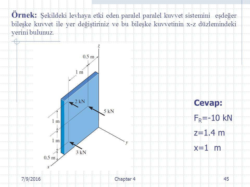 Örnek: Şekildeki levhaya etki eden paralel paralel kuvvet sistemini eşdeğer bileşke kuvvet ile yer değiştiriniz ve bu bileşke kuvvetinin x-z düzlemindeki yerini bulunuz.