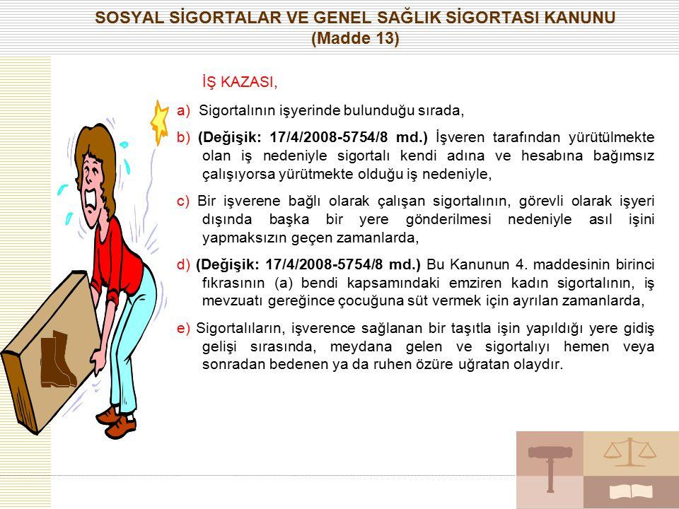SOSYAL SİGORTALAR VE GENEL SAĞLIK SİGORTASI KANUNU (Madde 13)