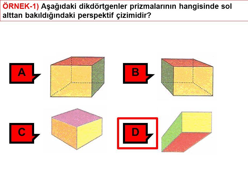 ÖRNEK-1) Aşağıdaki dikdörtgenler prizmalarının hangisinde sol alttan bakıldığındaki perspektif çizimidir