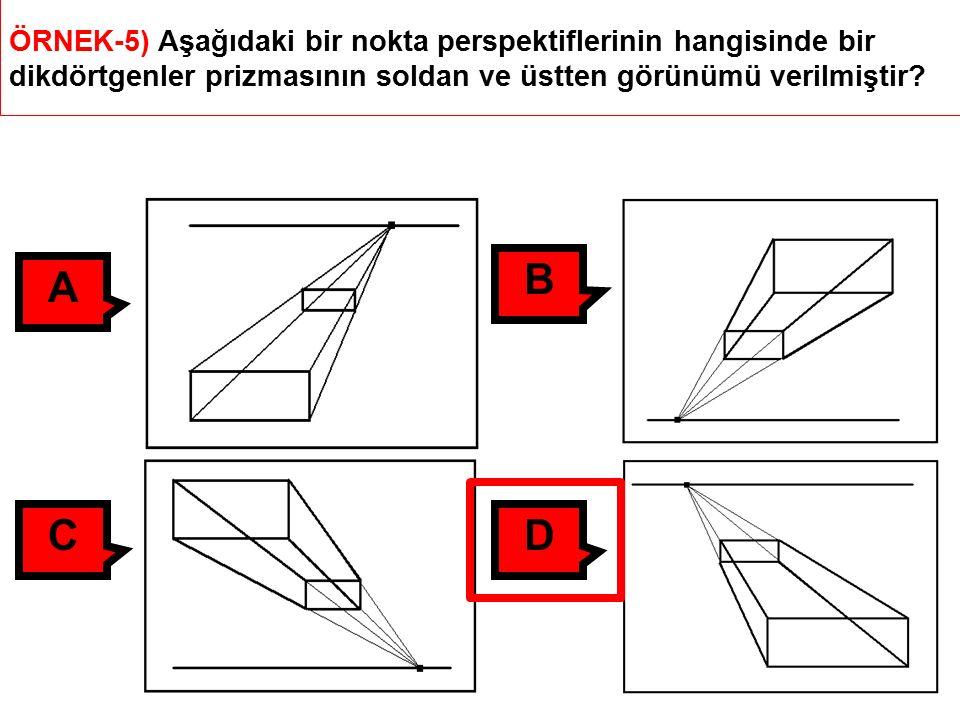ÖRNEK-5) Aşağıdaki bir nokta perspektiflerinin hangisinde bir dikdörtgenler prizmasının soldan ve üstten görünümü verilmiştir