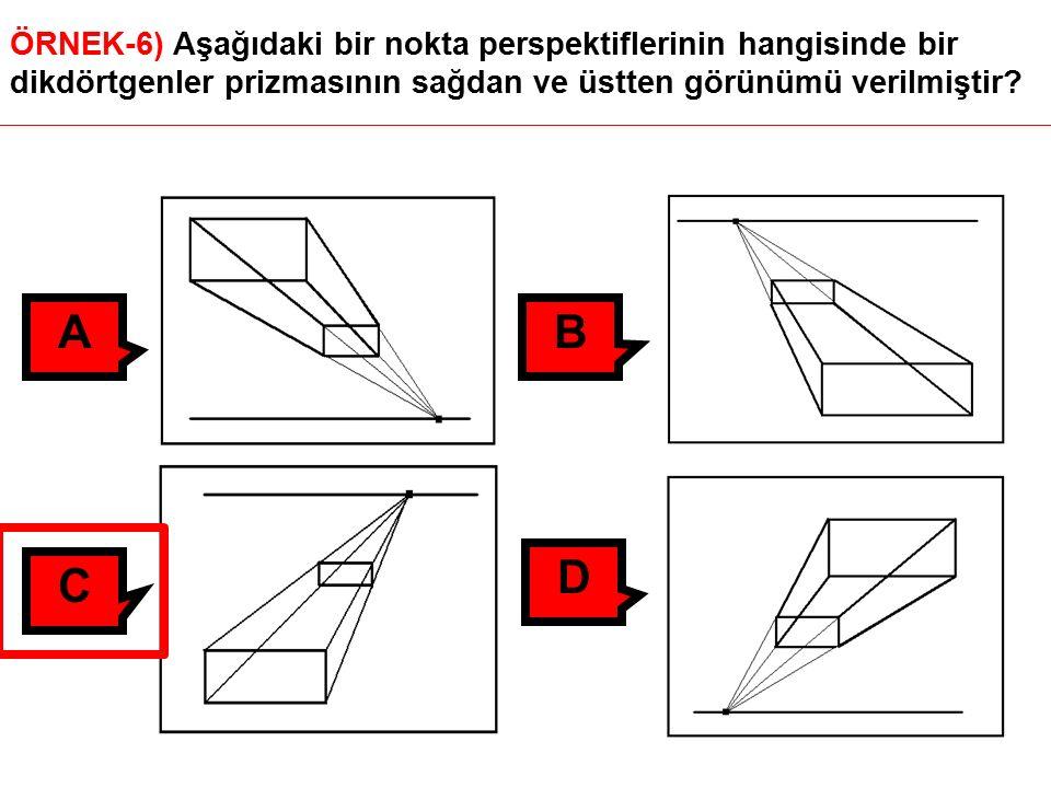 ÖRNEK-6) Aşağıdaki bir nokta perspektiflerinin hangisinde bir dikdörtgenler prizmasının sağdan ve üstten görünümü verilmiştir