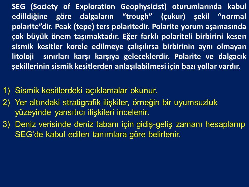 SEG (Society of Exploration Geophysicist) oturumlarında kabul edilldiğine göre dalgaların trough (çukur) şekil normal polarite dir. Peak (tepe) ters polaritedir. Polarite yorum aşamasında çok büyük önem taşımaktadır. Eğer farklı polariteli birbirini kesen sismik kesitler korele edilmeye çalışılırsa birbirinin aynı olmayan litoloji sınırları karşı karşıya geleceklerdir. Polarite ve dalgacık şekillerinin sismik kesitlerden anlaşılabilmesi için bazı yollar vardır.