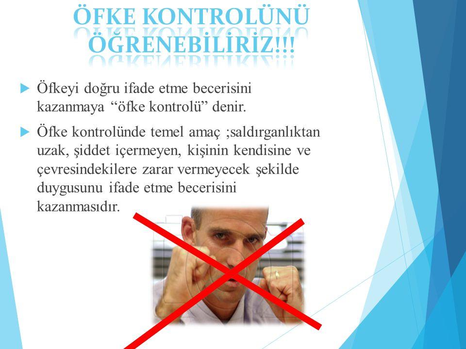 ÖFKE KONTROLÜNÜ ÖĞRENEBİLİRİZ!!!