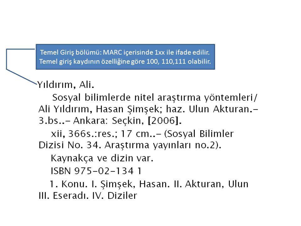 Temel Giriş bölümü: MARC içerisinde 1xx ile ifade edilir