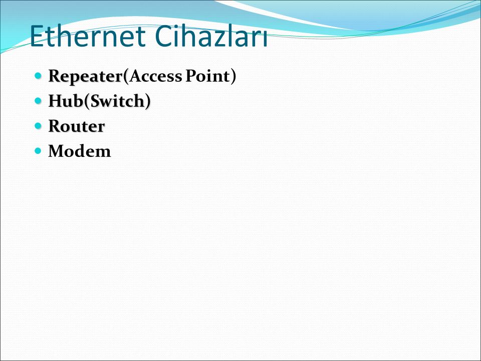 Ethernet Cihazları Repeater(Access Point) Hub(Switch) Router Modem