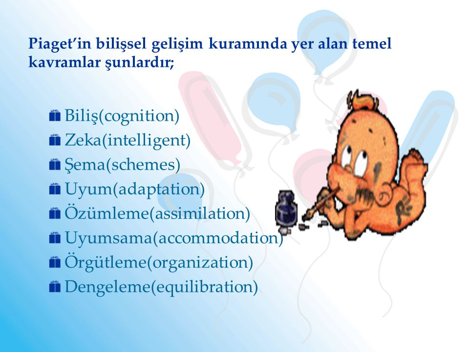 Özümleme(assimilation) Uyumsama(accommodation) Örgütleme(organization)