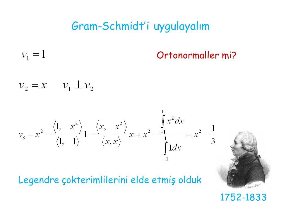 Gram-Schmidt'i uygulayalım