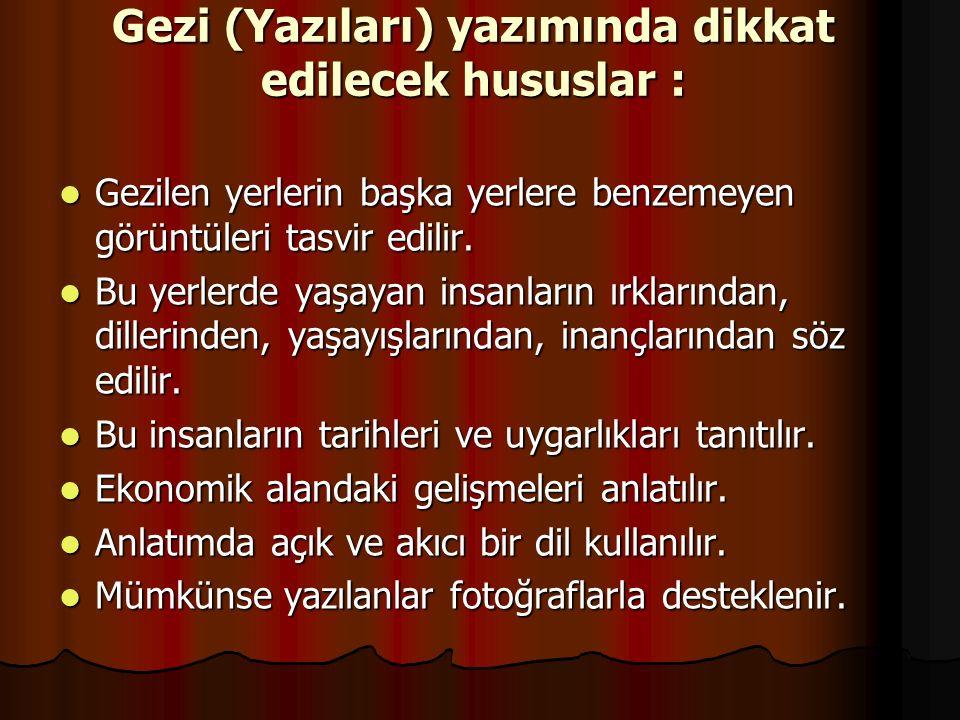 Gezi (Yazıları) yazımında dikkat edilecek hususlar :