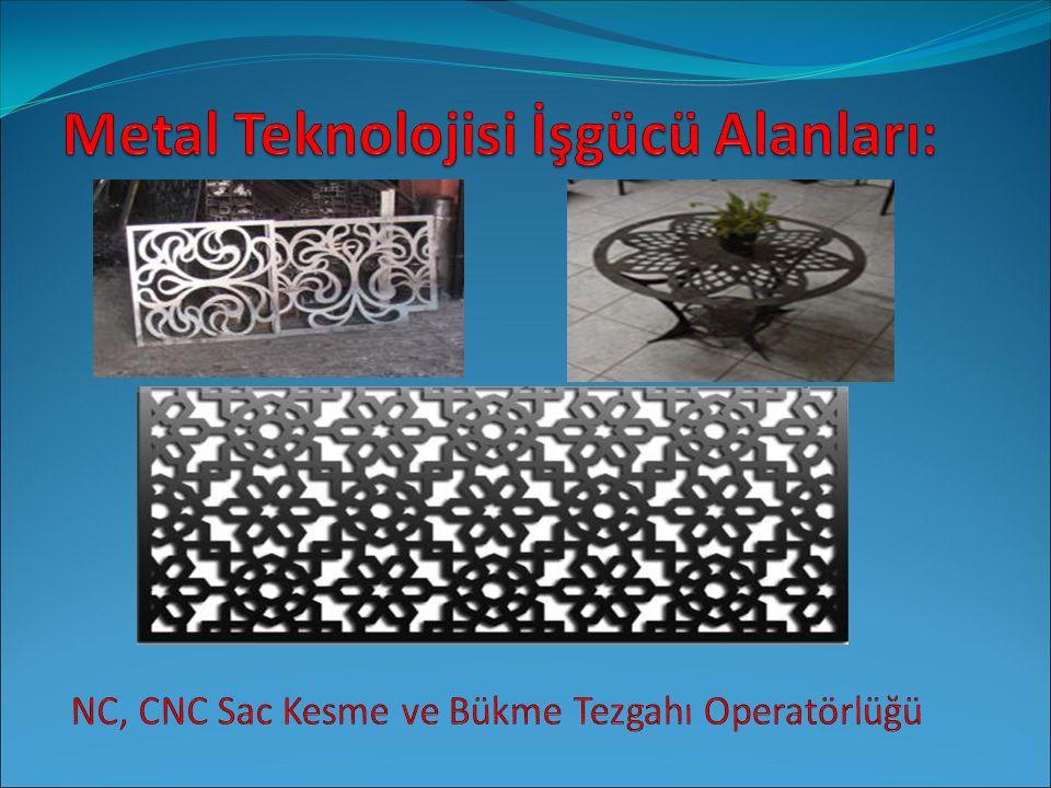 Metal Teknolojisi İşgücü Alanları: