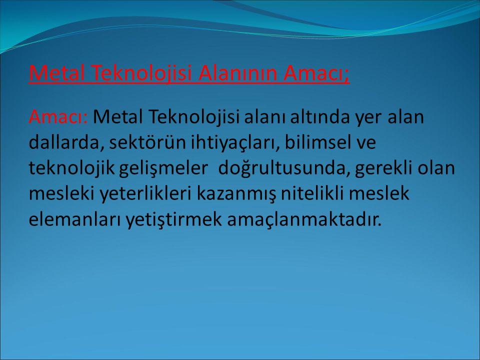 Metal Teknolojisi Alanının Amacı;