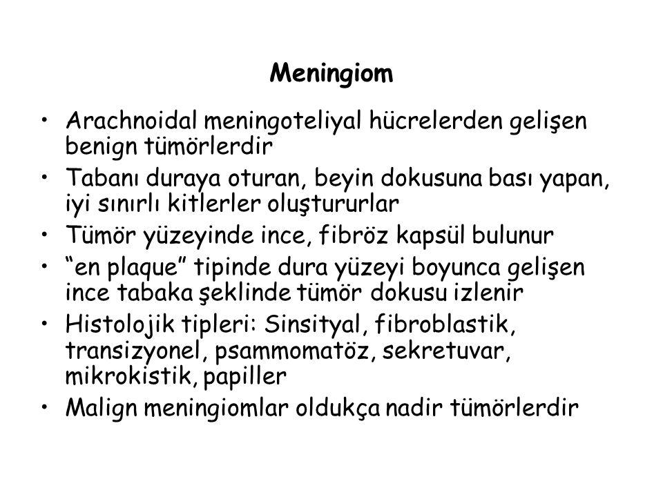 Meningiom Arachnoidal meningoteliyal hücrelerden gelişen benign tümörlerdir.
