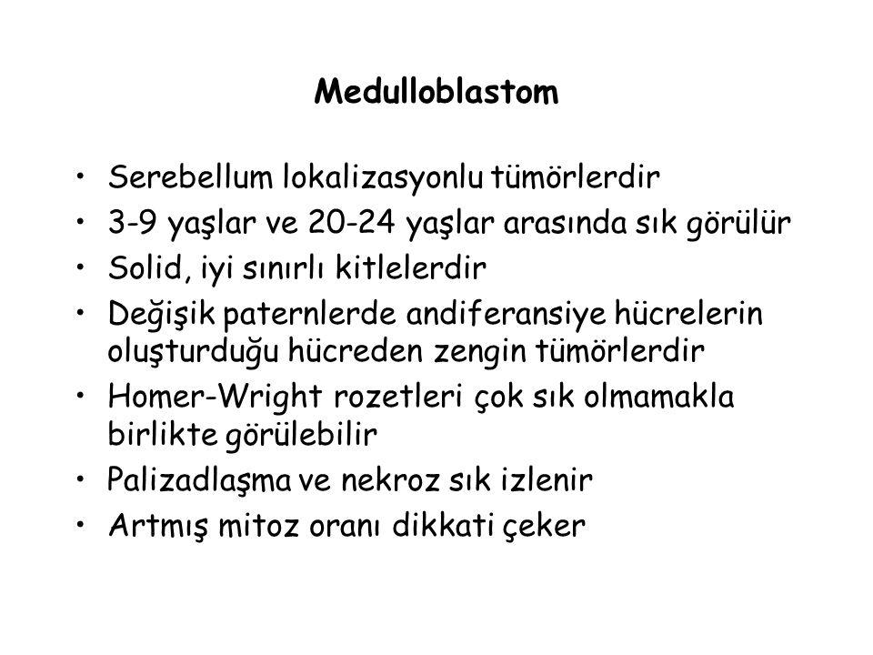 Medulloblastom Serebellum lokalizasyonlu tümörlerdir