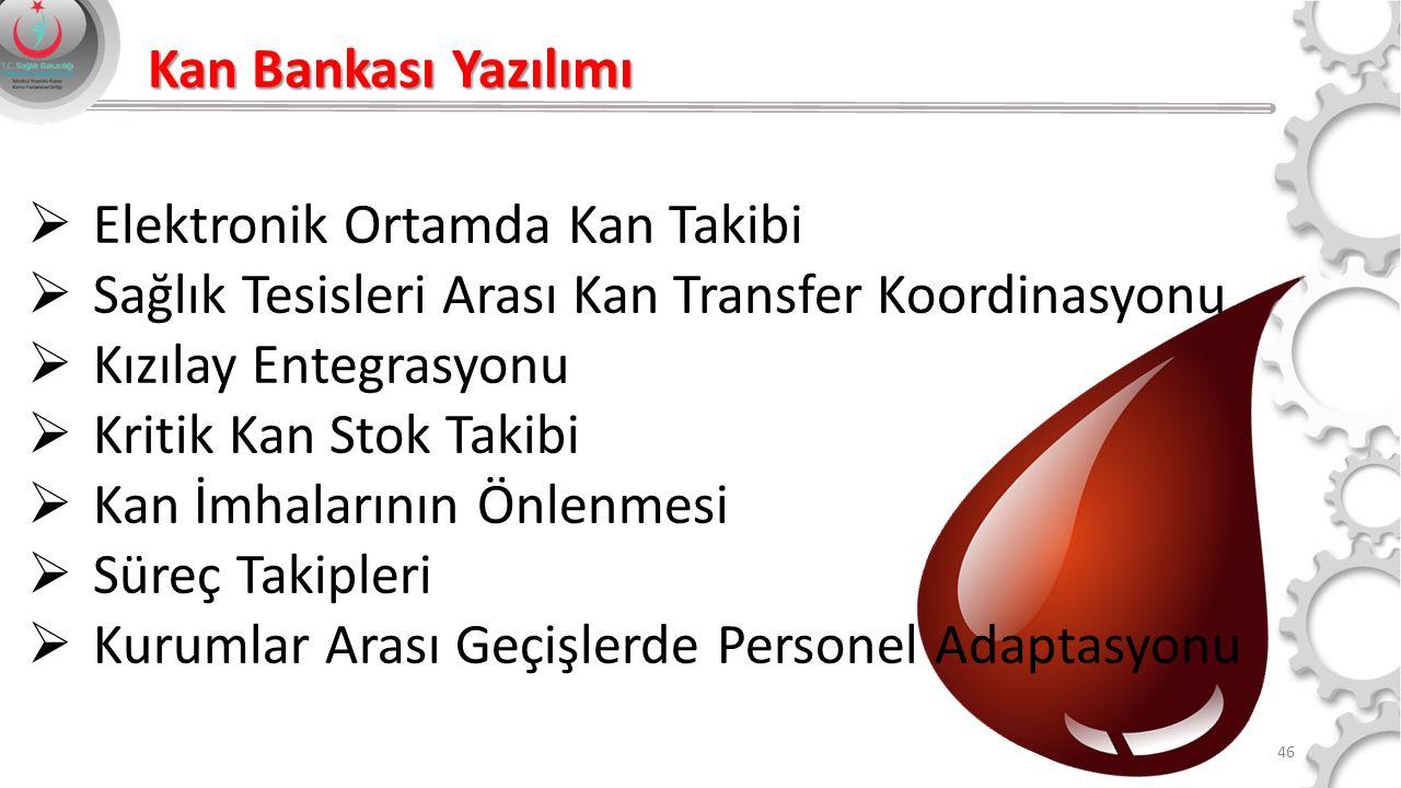 Kan Bankası Yazılımı Elektronik Ortamda Kan Takibi. Sağlık Tesisleri Arası Kan Transfer Koordinasyonu.