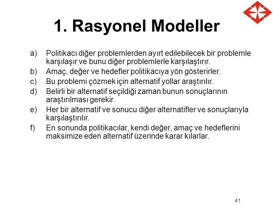 1. Rasyonel Modeller Politikacı diğer problemlerden ayırt edilebilecek bir problemle karşılaşır ve bunu diğer problemlerle karşılaştırır.