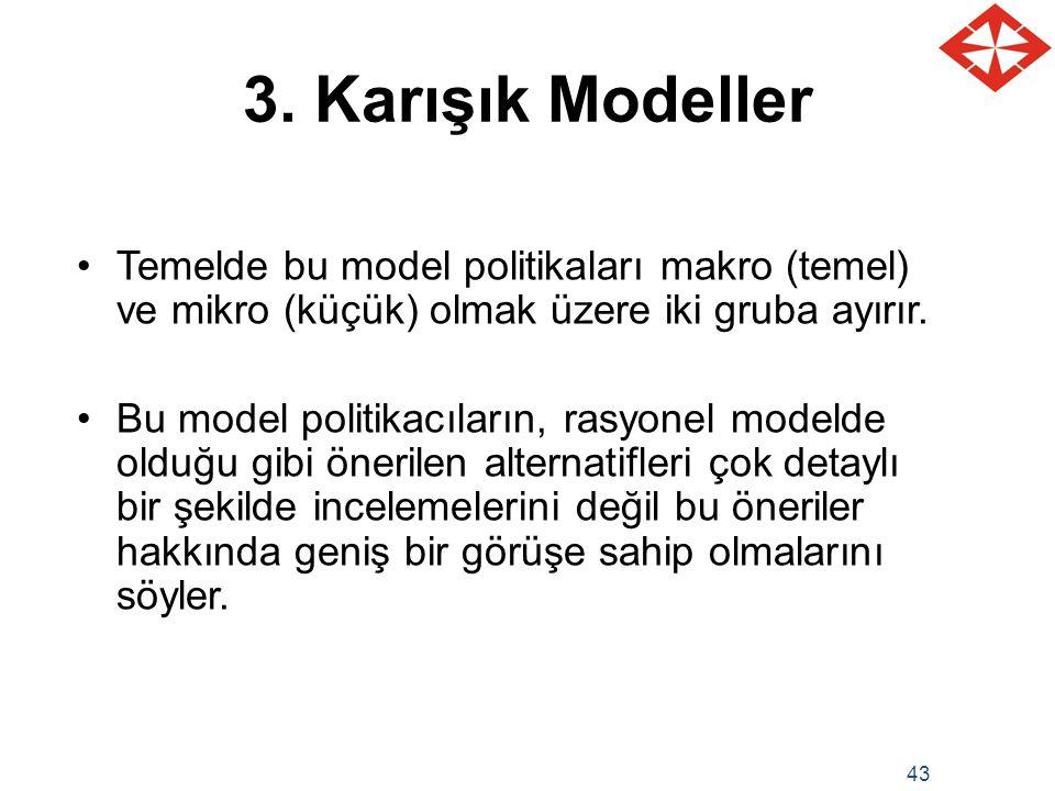 3. Karışık Modeller Temelde bu model politikaları makro (temel) ve mikro (küçük) olmak üzere iki gruba ayırır.