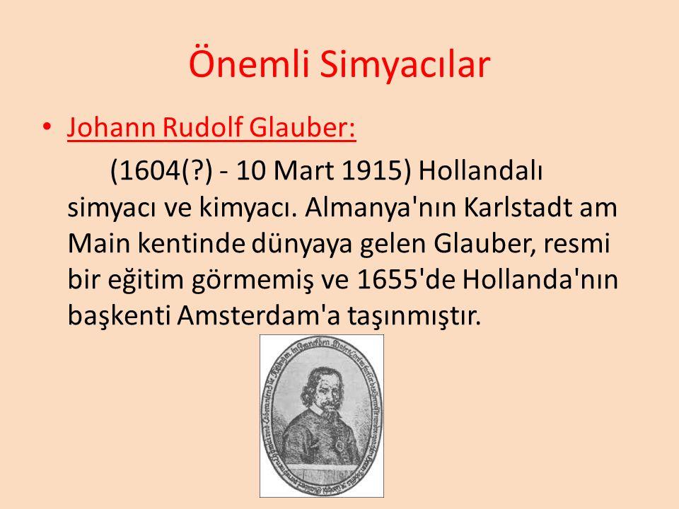 Önemli Simyacılar Johann Rudolf Glauber: