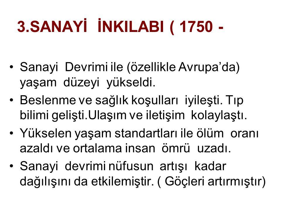 3.SANAYİ İNKILABI ( 1750 - Sanayi Devrimi ile (özellikle Avrupa'da) yaşam düzeyi yükseldi.