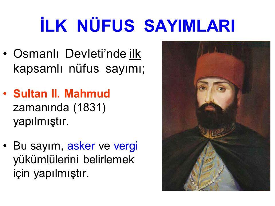 İLK NÜFUS SAYIMLARI Osmanlı Devleti'nde ilk kapsamlı nüfus sayımı;