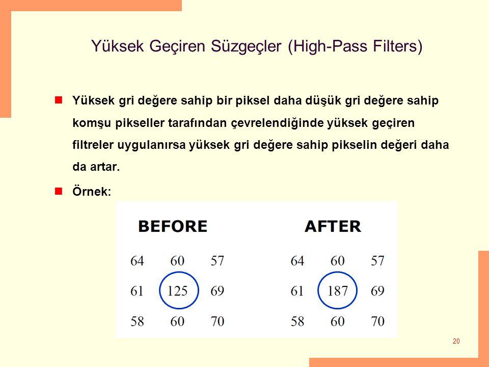 Yüksek Geçiren Süzgeçler (High-Pass Filters)