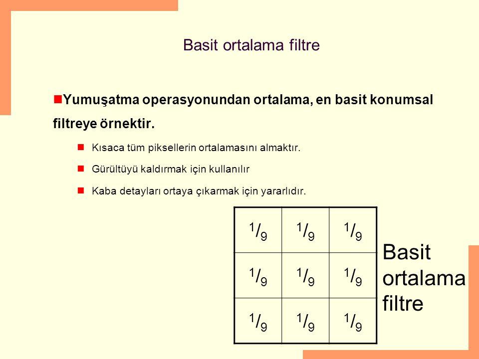 Basit ortalama filtre 1/9 Basit ortalama filtre