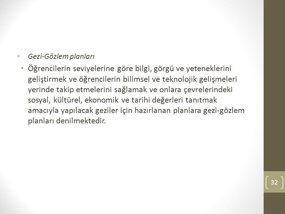 Gezi-Gözlem planları