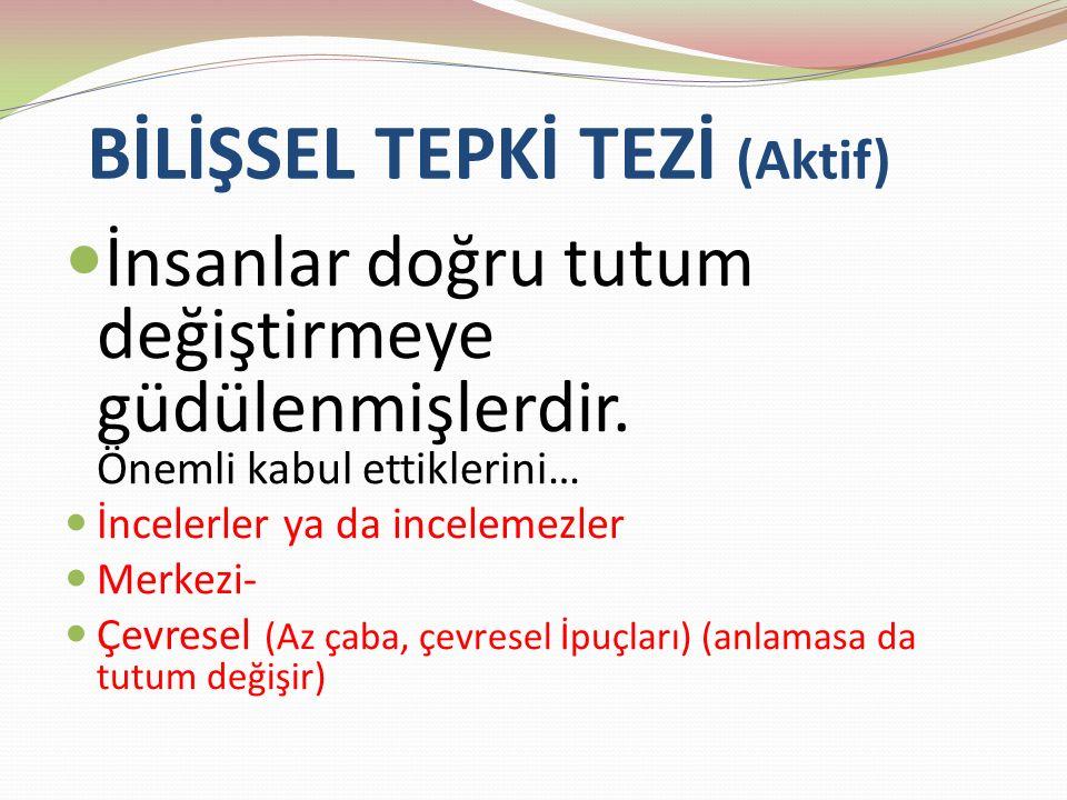BİLİŞSEL TEPKİ TEZİ (Aktif)