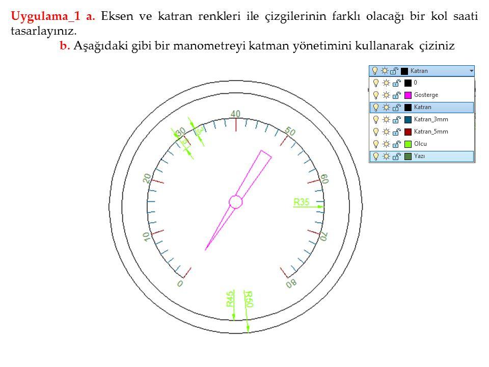 Uygulama_1 a. Eksen ve katran renkleri ile çizgilerinin farklı olacağı bir kol saati tasarlayınız.