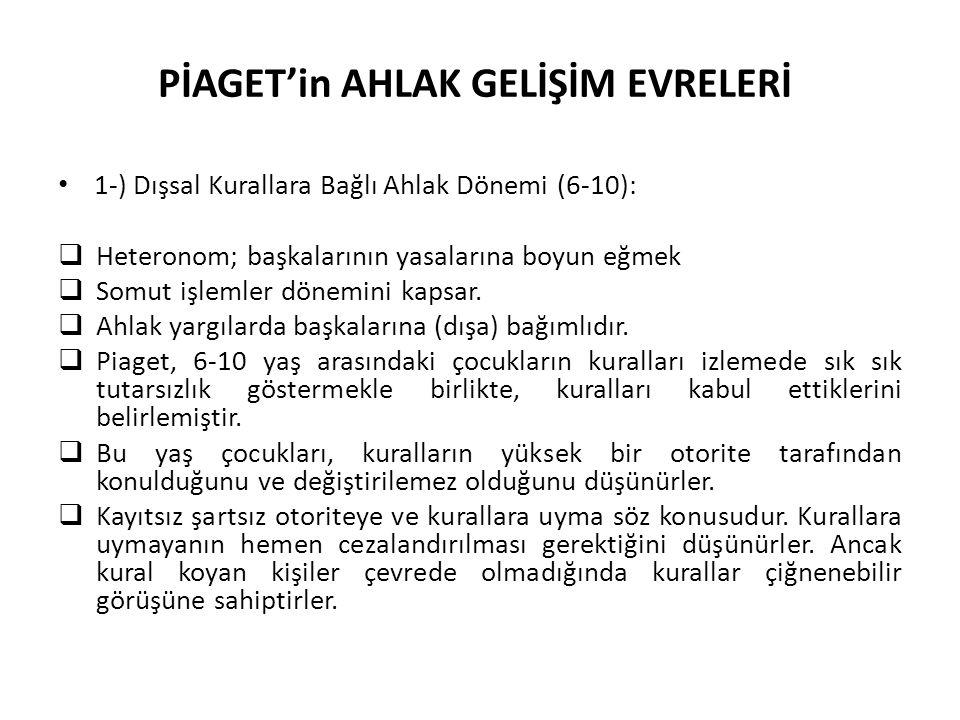 PİAGET'in AHLAK GELİŞİM EVRELERİ
