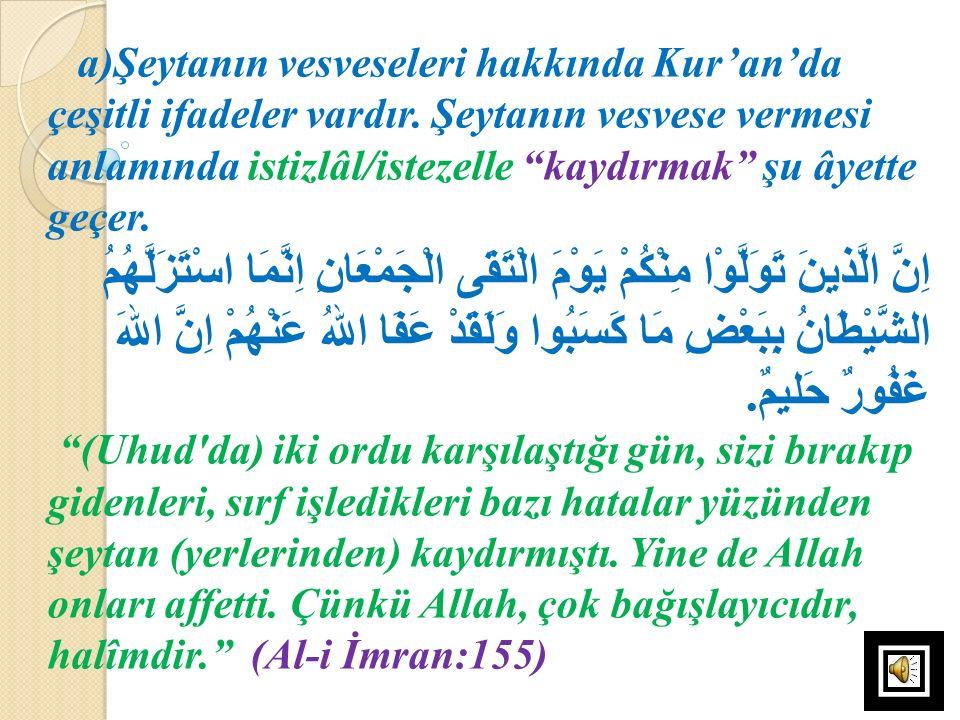 a)Şeytanın vesveseleri hakkında Kur'an'da çeşitli ifadeler vardır
