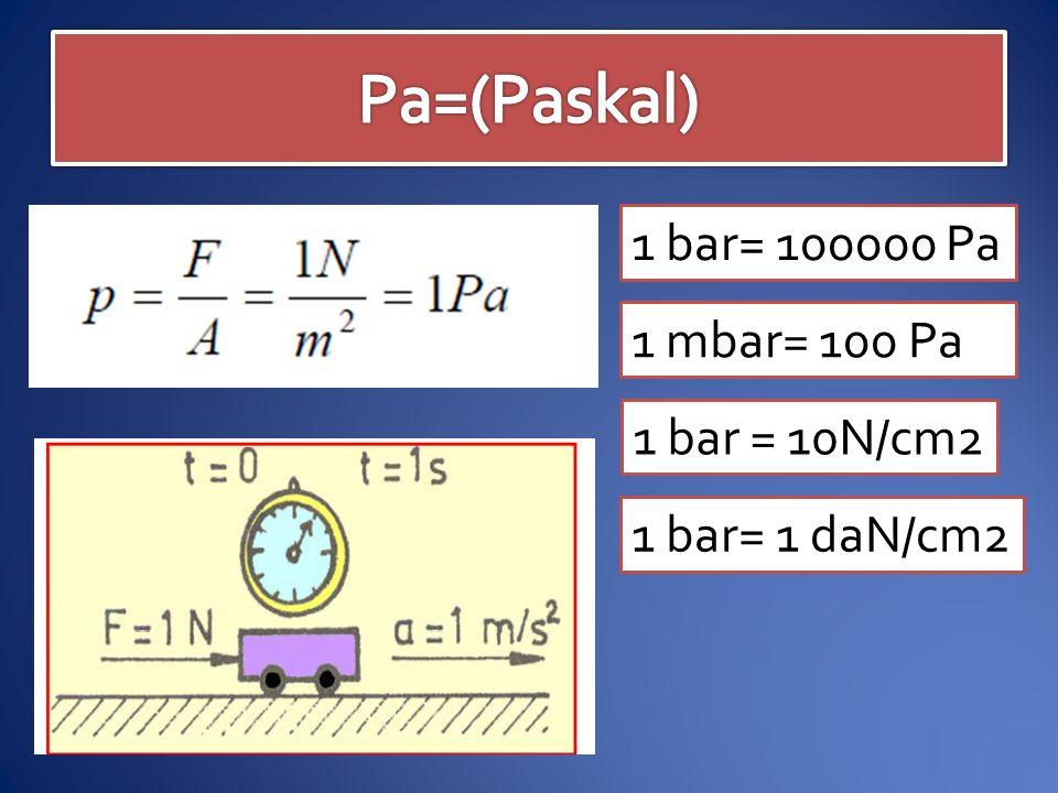 Pa=(Paskal) 1 bar= 100000 Pa 1 mbar= 100 Pa 1 bar = 10N/cm2