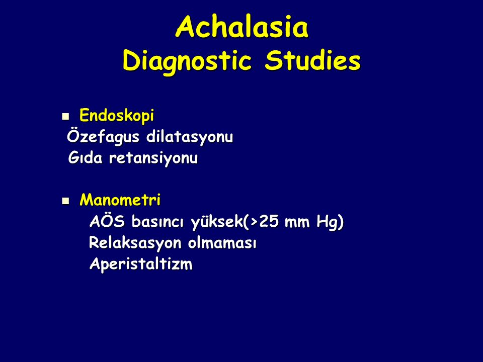 Achalasia Diagnostic Studies