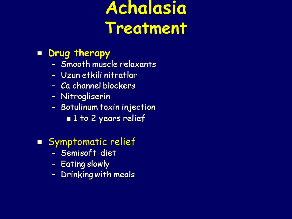 Achalasia Treatment Drug therapy Symptomatic relief