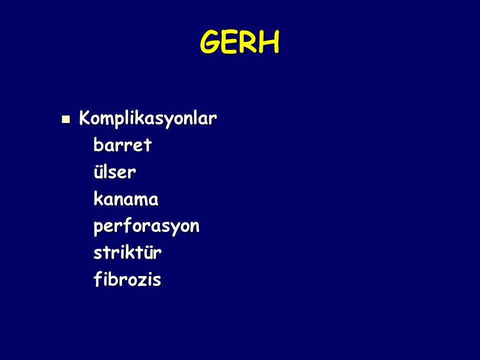 GERH Komplikasyonlar barret ülser kanama perforasyon striktür fibrozis