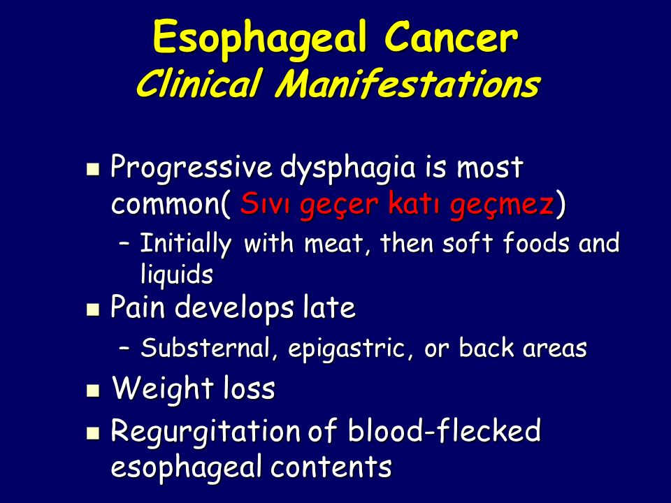 Esophageal Cancer Clinical Manifestations