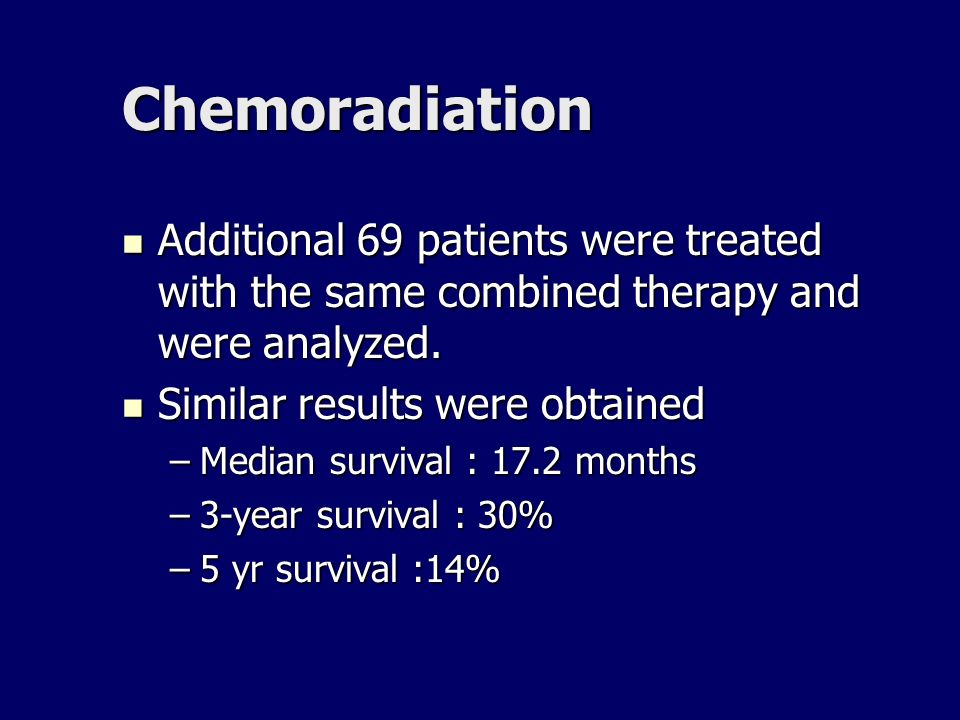 Chemoradiation Additional 69 patients were treated with the same combined therapy and were analyzed.