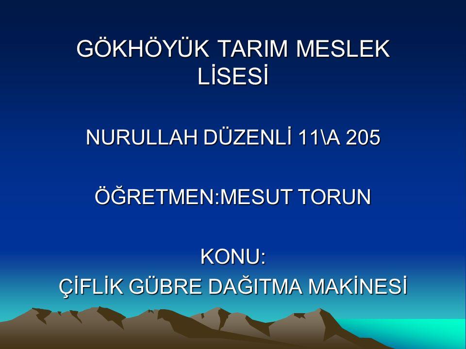 GÖKHÖYÜK TARIM MESLEK LİSESİ
