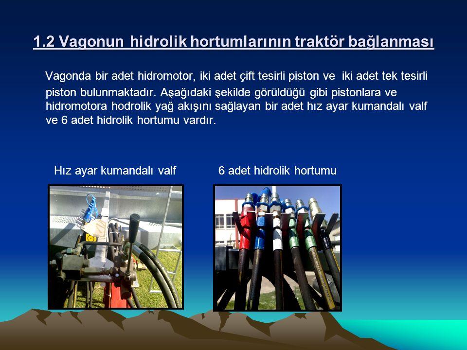 1.2 Vagonun hidrolik hortumlarının traktör bağlanması