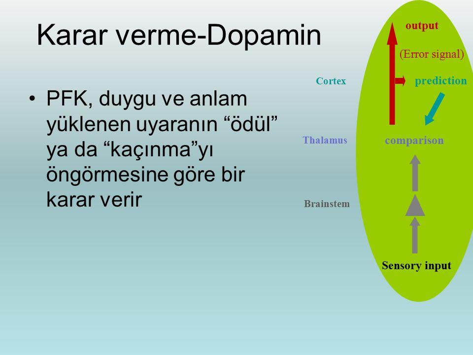 Thalamus Cortex. prediction. comparison. Sensory input. Karar verme-Dopamin. output. (Error signal)