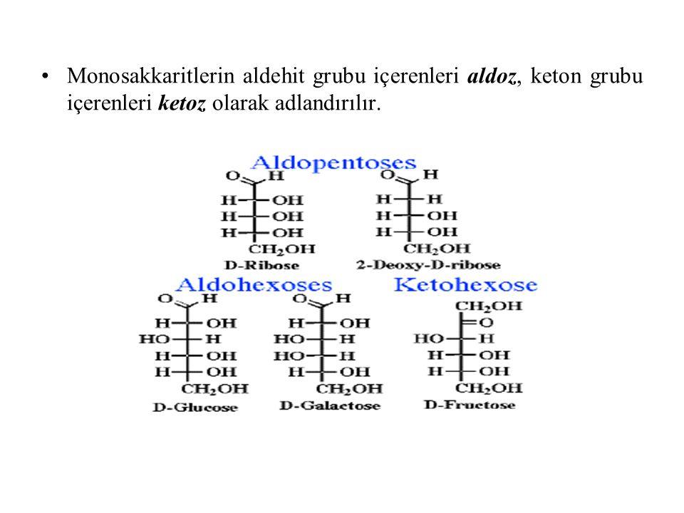 Monosakkaritlerin aldehit grubu içerenleri aldoz, keton grubu içerenleri ketoz olarak adlandırılır.