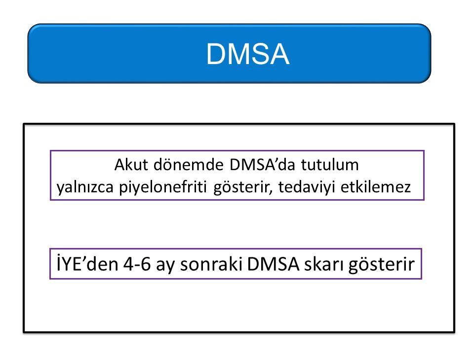 DMSA İYE'den 4-6 ay sonraki DMSA skarı gösterir