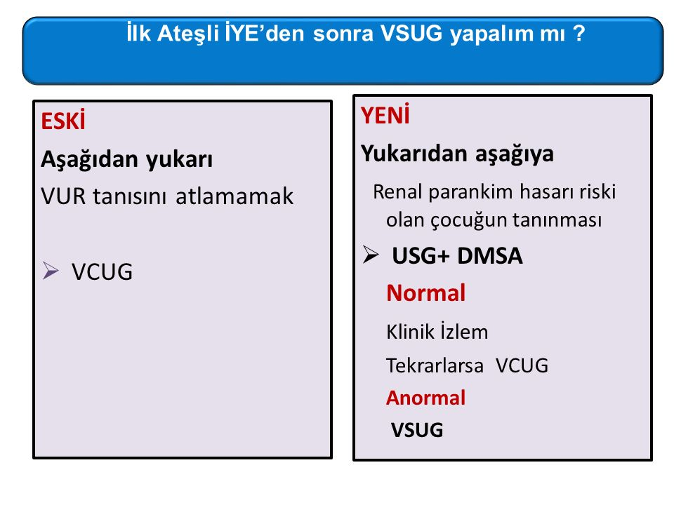Renal parankim hasarı riski olan çocuğun tanınması USG+ DMSA Normal