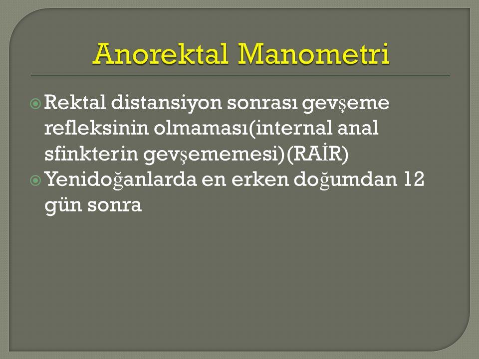 Anorektal Manometri Rektal distansiyon sonrası gevşeme refleksinin olmaması(internal anal sfinkterin gevşememesi)(RAİR)