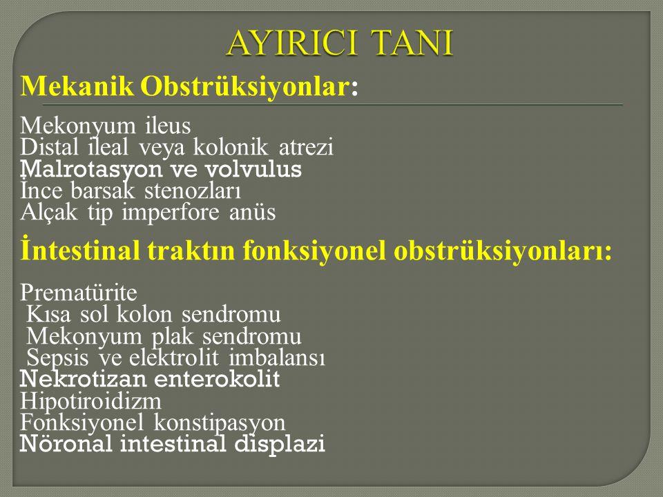 AYIRICI TANI Mekanik Obstrüksiyonlar: