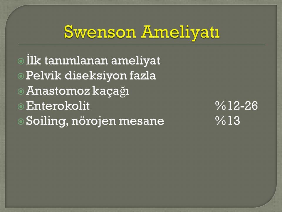Swenson Ameliyatı İlk tanımlanan ameliyat Pelvik diseksiyon fazla