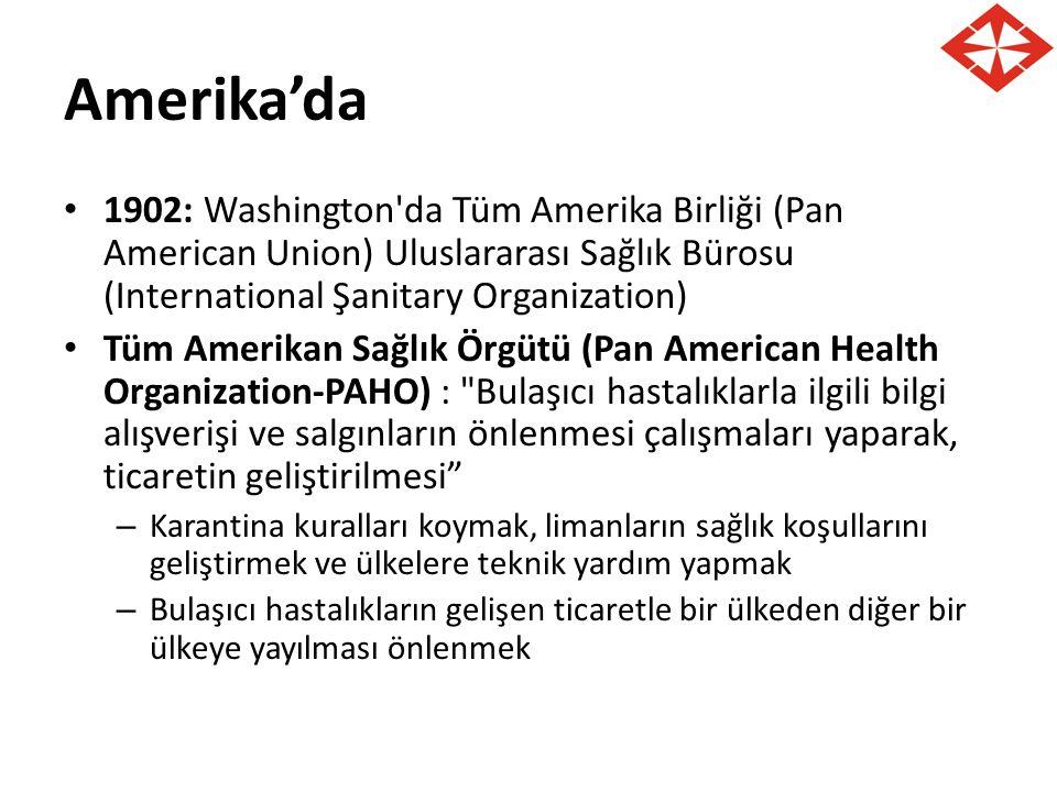 Amerika'da 1902: Washington da Tüm Amerika Birliği (Pan American Union) Uluslararası Sağlık Bürosu (International Şanitary Organization)